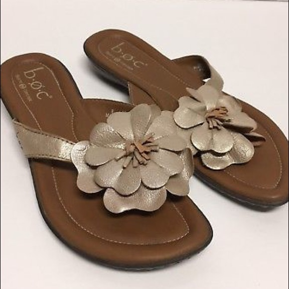38e8e8b23 Born Shoes - BORN B.O.C gold metallic flower flip flop sandal 9